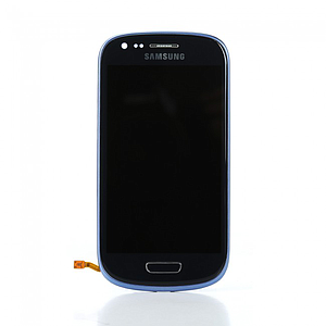 Vitre tactile, LCD, chassis et bouton home pour Galaxy S3 mini i8190, Blue